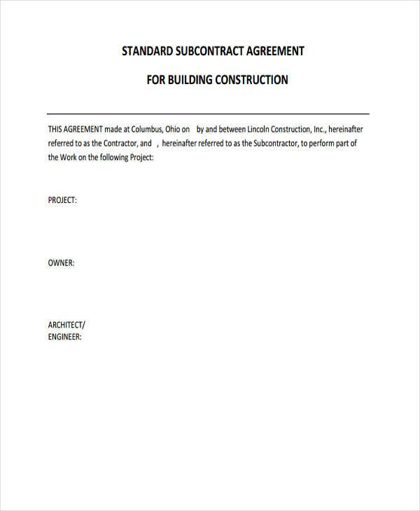 Subcontract Agreement FormSubcontractor Contract Template