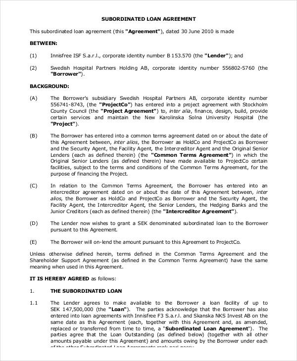 35+ Loan Agreement Forms in PDF - subordination agreement template