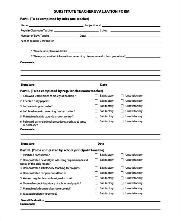 27+ Teacher Evaluation Form Example - substitute teacher feedback forms