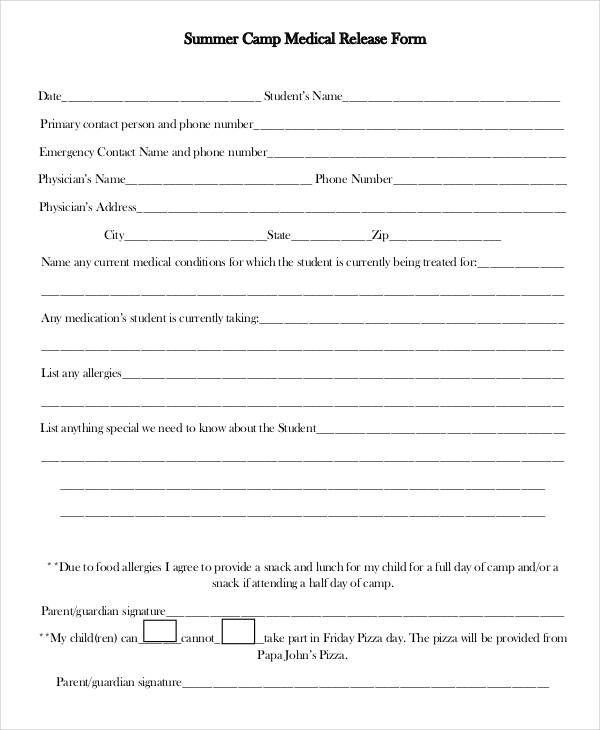 parent medical release - medical release forms