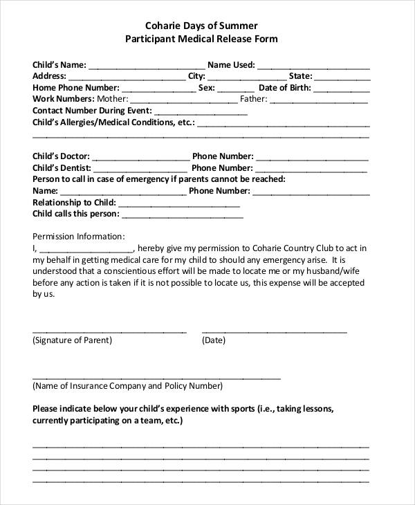 sports medical release form - Barebearsbackyard - parent release form