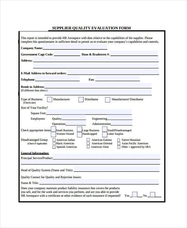 Evaluation Forms - supplier evaluation template