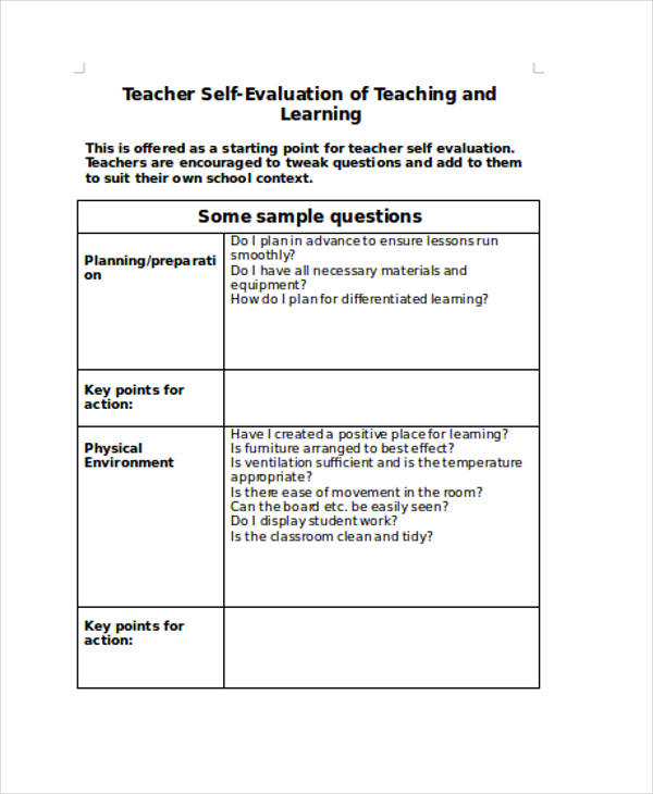 teacher self evaluation form - fototango - Self Evaluation