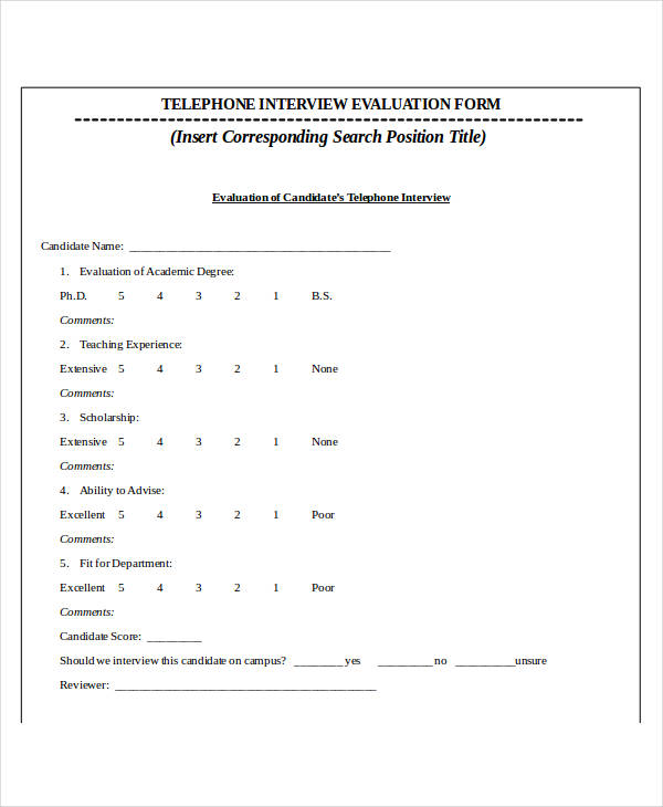 Interview Forms Interview Evaluation Form  Good Reference Letter