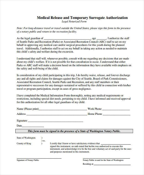 Printable Medical Release Form For Children - Template Examples - free medical form