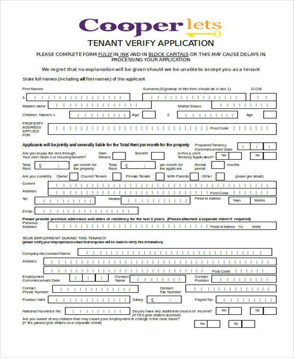 Application Form in Word