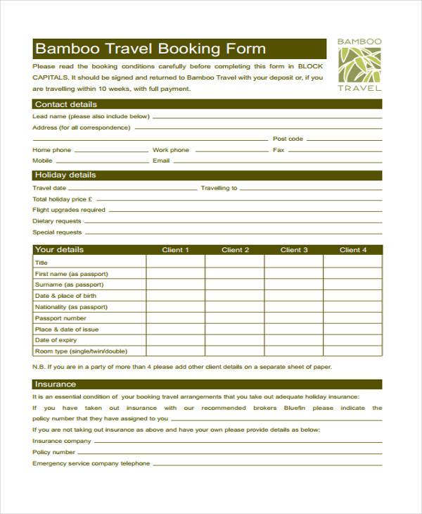 Tour Reservation Form Free Reservation Forms Free Reservation Form