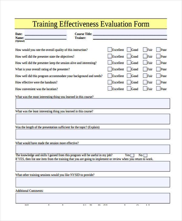 hr evaluation form – Sample Performance Evaluation Forms