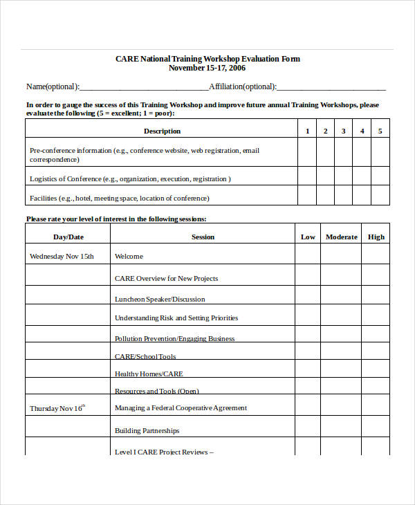Meeting Evaluation Form Click Image To Zoom Double Click Image To