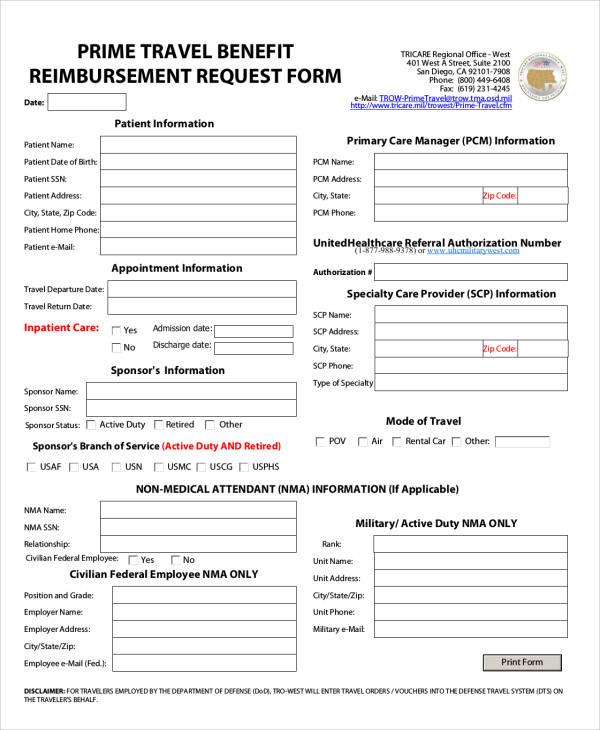 Reimbursement Form Reimbursement Form 05 47 Reimbursement