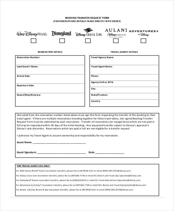 Travel Request Form Example - travel agent form