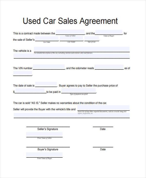 Contract Forms in PDF - car selling contract template