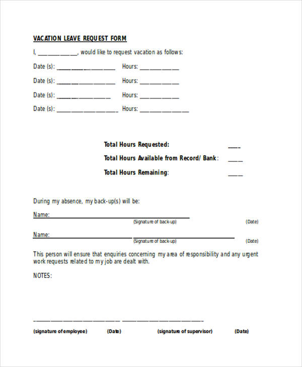 Absence Request Form Vacation Request Forms Request Forms In Word - vacation request form