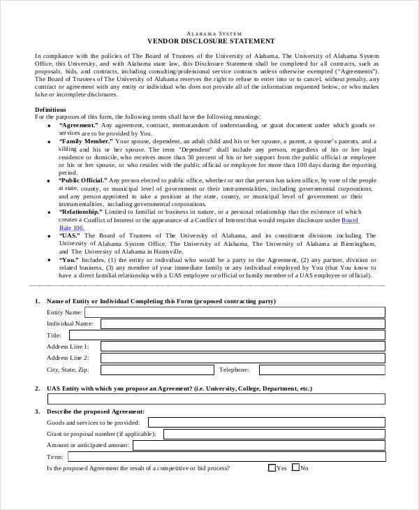 Disclosure Statement Template bill of sale form california lead - printable statement form