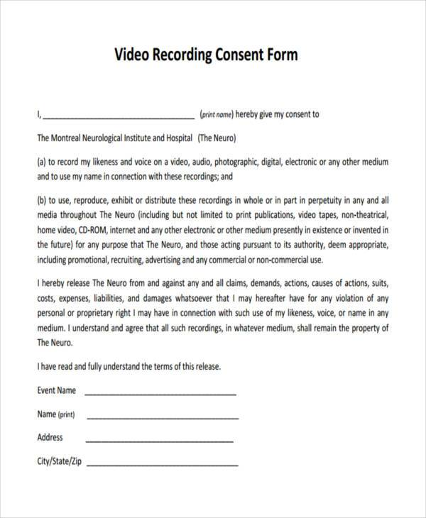 video consent form - Goalgoodwinmetals - talent release form template