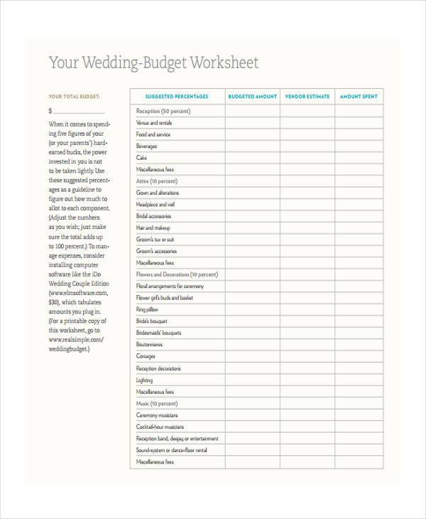 Budget Form templates - sample wedding budget