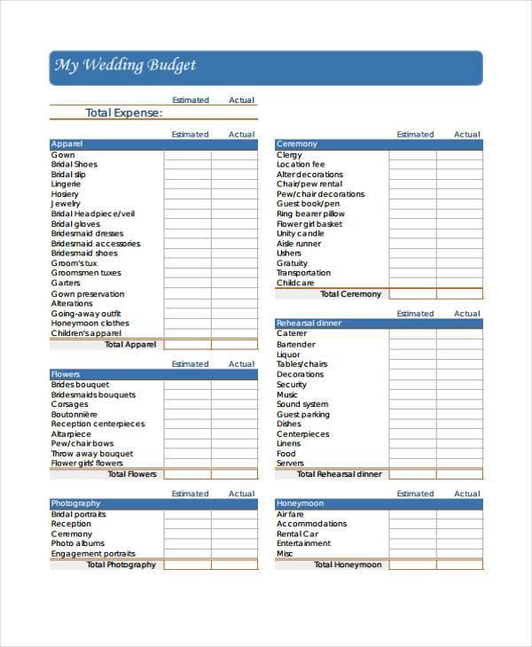 Wedding Budget Worksheet - Resume Template Ideas
