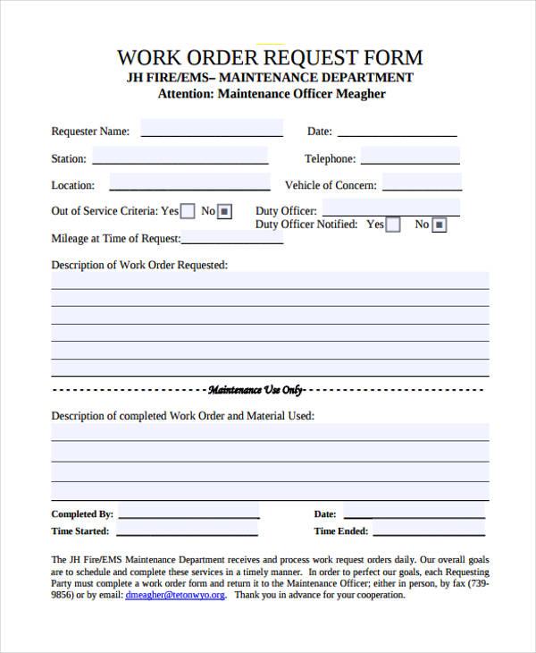 maintenance work order form 3slufsluidsprekers