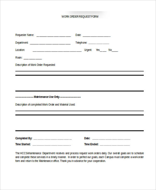 22+ Work Order Form Template - order form templates