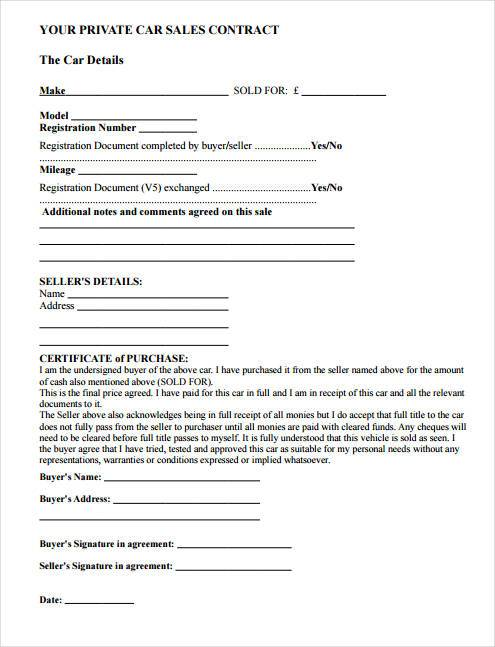 Contract Forms in PDF - car sale contract example