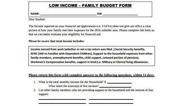 Budget Form templates