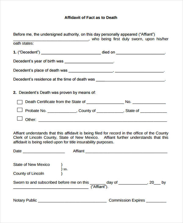 9+ Affidavit of Death Forms - Free Sample, Example, Format Download - affidavit of fact template