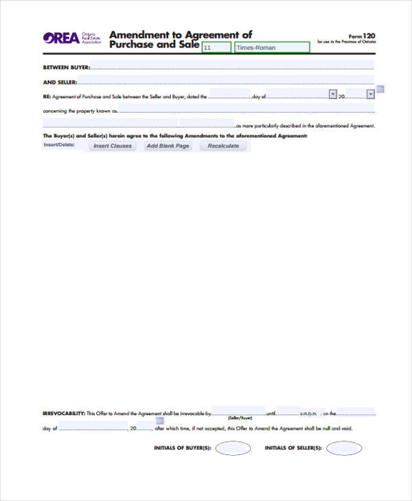 Doc#460595 Sample Sales Contract u2013 Contract for the Sale of - contract amendment template