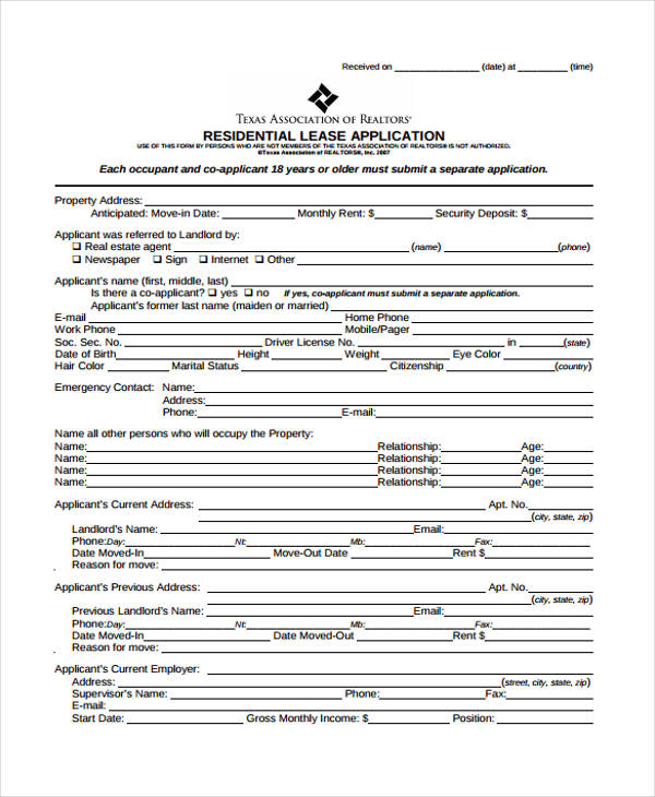 Sample Lease Application colbro - Sample Lease Application