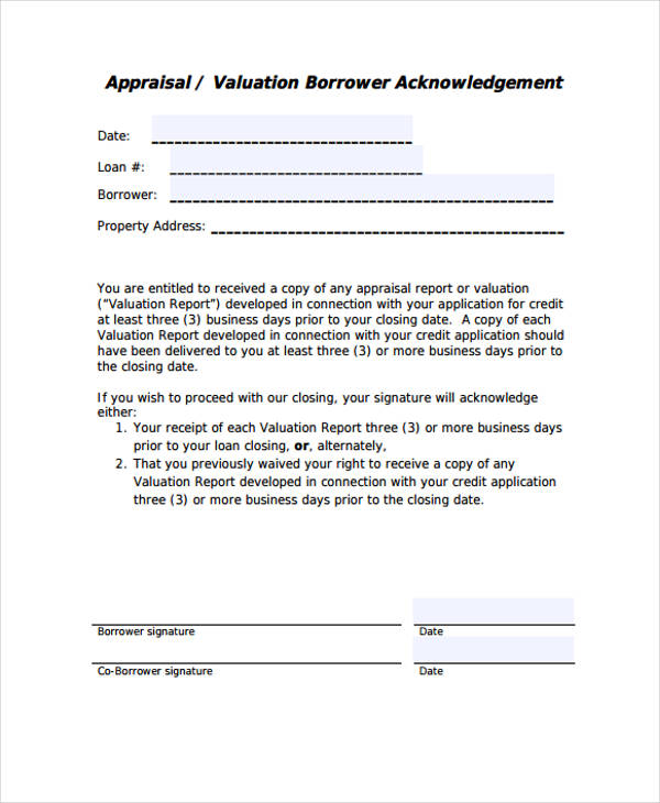 6+ Sample Appraisal Disclosure Form - Free Sample, Example, Format