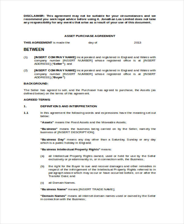 Asset Purchase Agreement Form Image collections - Agreement Letter - asset purchase agreement template
