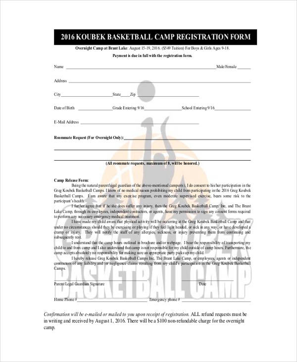 Basketball Registration Form Template 12 free basketball evaluation