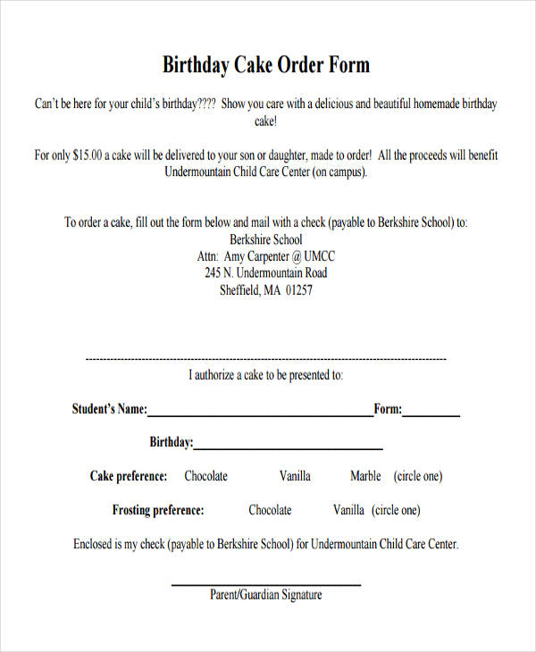 12+ Cake Order Form Sample - Free Sample, Example Format Download - cake order forms