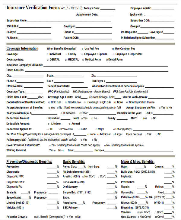 22+ Insurance Verification Forms in PDF - blank employment verification form