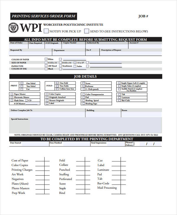 36 Free Service Order Form