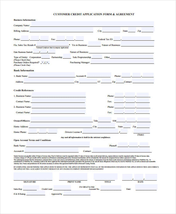 9+ Business Credit Application Form - Free Sample, Example, Format - credit application form