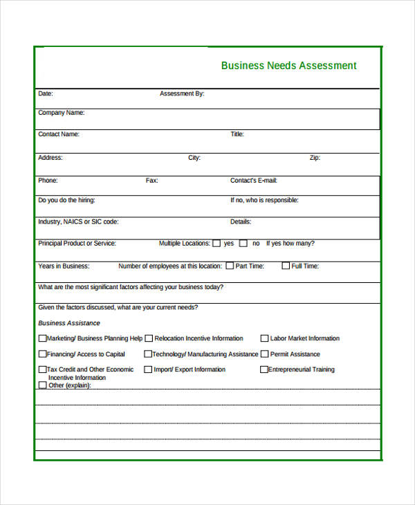 32 Free Needs Assessment Forms - business needs assessment template