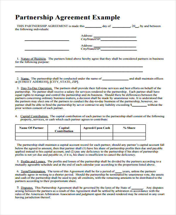 25 Sample Business Agreement Forms - Sample Business Partnership Agreement