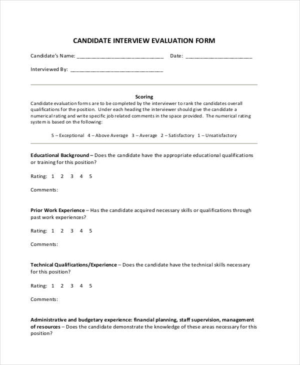 25+ Interview Assessment Form in PDF - interview assessment forms