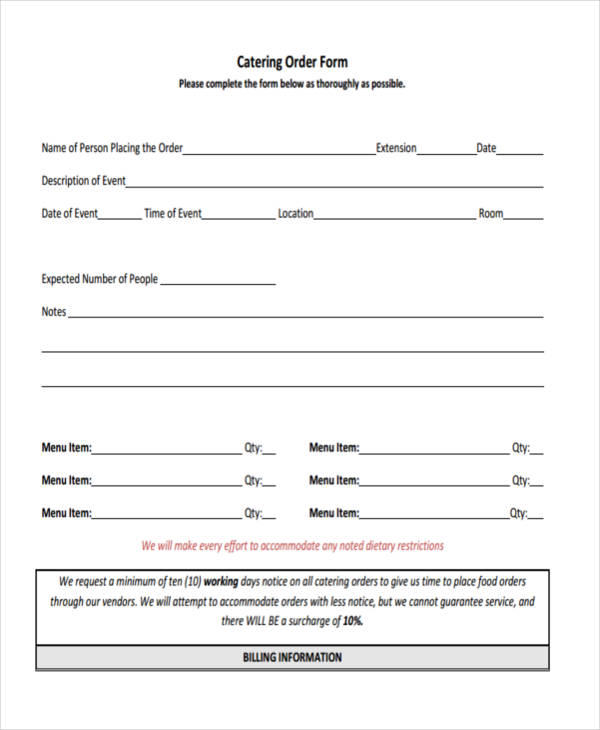 8+ Catering Order Form - Free Sample, Example, Format Download - event order form