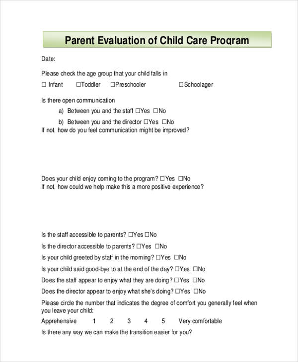 Sample Child Care Evaluation Form - 7+ Free Documents in Word, PDF - how to create evaluation form