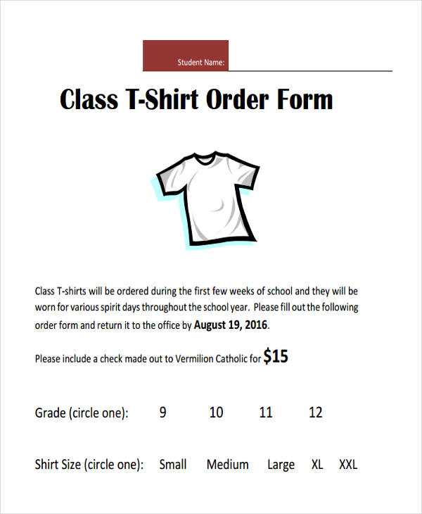 T-Shirt Order Form - 10+ Free Documents in Word, PDF - t shirt order forms