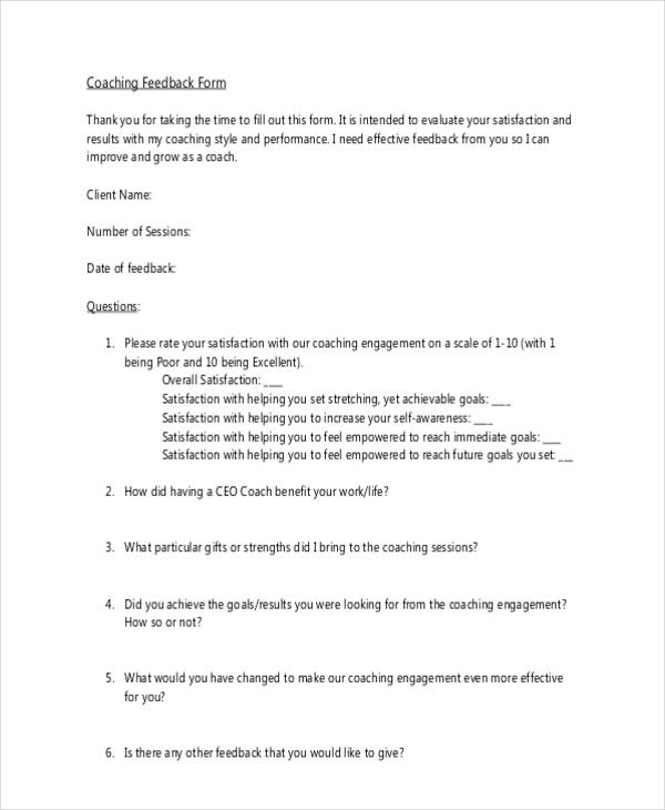 10 Different Feedback Forms for Coaching - coach feedback form