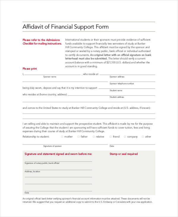 16 Affidavit Support Forms