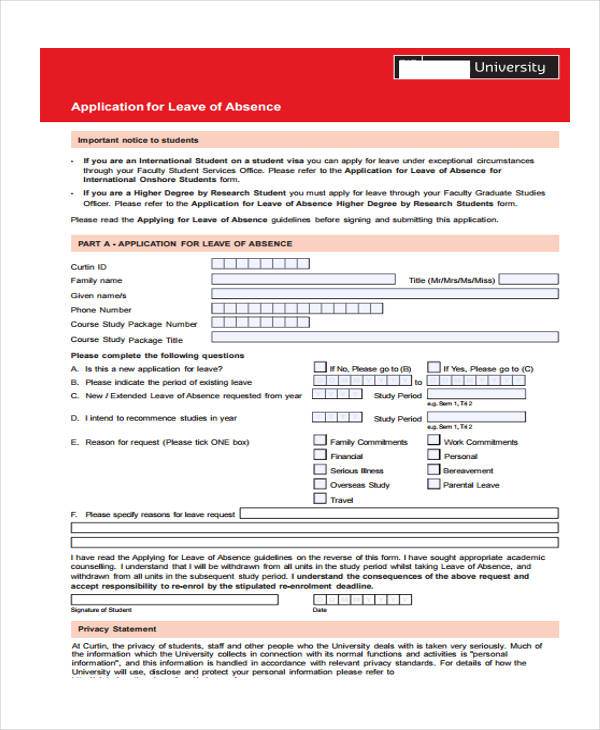Leave Application Form Template Templatebillybullock – Student Application Form Template