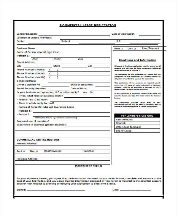 Lease Application Form in PDF