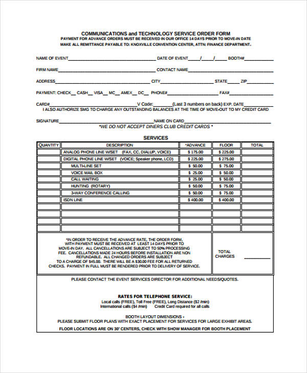 36 Free Service Order Form - order form layout