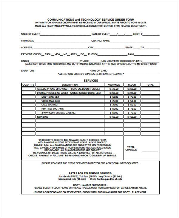 36 Free Service Order Form - order form layout