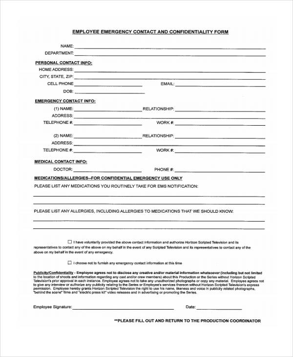 26+ Emergency Contact Form in PDF - Free Documents in PDF