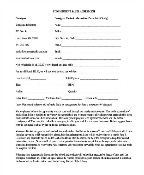 31+ Free Sales Agreement Forms - consignment agreement template