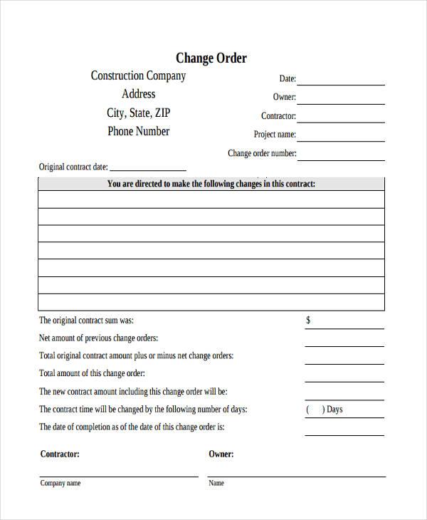 9+ Change Order Form - Free Sample, Example, Format Download - construction change order form